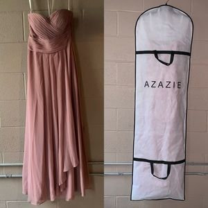 Azazie Mauve strapless bridesmaid prom dress. 10A